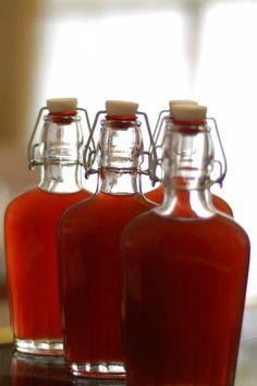 Homemade pomegranate liquor