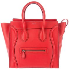 C?LINE 'Mini luggage' tote ($1,805) ❤ liked on Polyvore featuring bags, handbags, tote bags, women, red leather handbag, leather tote, zip top tote, mini tote bag and leather handbags