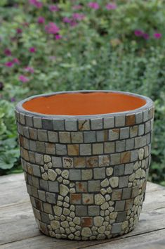 Flower Pot With Vintage Mosaics and Stone Tile