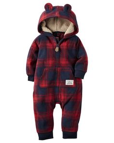 Carter's Baby Boys' Hooded/Eared Romper (Baby) -Red Plaid-12M