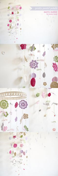 Merry Mobile by Emma Lamb, custom colour combination in soft violet, fuschia, apple green, beige, silver, soft pink and cream.