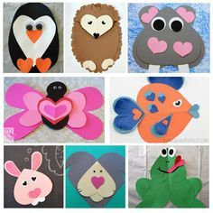 Super Cute & Fun Heart Animal Crafts Kids Can Make - Art Activities - Animal Crafts Made With Hearts – Fun Valentine Crafts For Kids - Kinder Valentines, Valentine Crafts For Kids, Valentines For Kids, Holiday Crafts, Thanksgiving Crafts, Animal Crafts For Kids, Craft Projects For Kids, Diy Crafts For Kids, Arts And Crafts