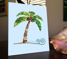 Palm Tree Button Art Buttons and Swarovski by BellePapiers on Etsy