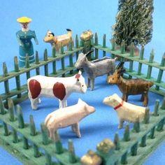 German Erzgebirge Putz Miniature Carved Wood Farm Set