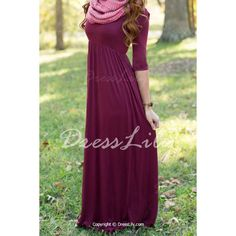 Graceful Scoop Neck 1/2 Sleeve Wine Red Women's Maxi Dress