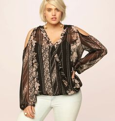 f2e8d51a7cb5b  PlusSize Fashion  Floral Stripe Cold Shoulder Blouse  loralette.com Cold  Shoulder Blouse