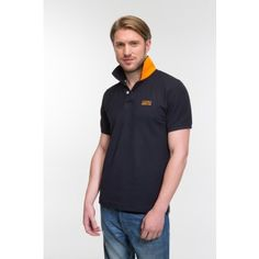 Buy berkshire polo t shirt for men in contrast collar slim-fit with two color Navy/Orange and fabric 100% cotton.