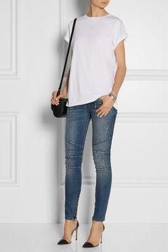 Balmain | Moto-style distressed low-rise skinny jeans | NET-A-PORTER.COM