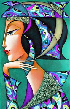 Dreaming - Limited Edition 1 of 20 Wlad Safronow Germany Portrait Acrylic, Acrylic Artwork, Cubist Art, Composition Art, Africa Art, Art Deco Posters, Dream Art, Op Art, Lovers Art