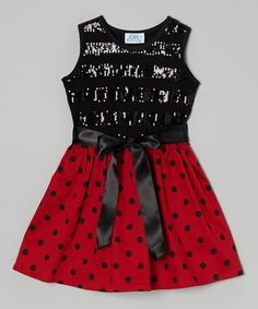Take a look at this Black & Red Polka Dot Sequin Dress - Infant, Toddler & Girls by Dreaming Kids on #zulily today!