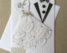 Handmade wedding card ideas with tips and instructions to make Wedding cards yourself. If you enjoy making cards and collecting card making . Homemade Wedding Cards, Wedding Cards Handmade, Greeting Cards Handmade, Homemade Cards, Wedding Anniversary Cards, Wedding Invitation Cards, Wedding Congratulations Card, Bridal Shower Cards, Engagement Cards