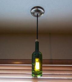 Upcycled Wine Bottle Hanging Light, Pendant Light