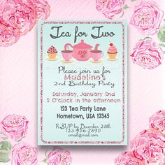 Tea Party, Tea for Two Birthday Party Invitation, Invite- Digital File, Personlized, Custom, Printable, DIY by comeonoveryall on Etsy