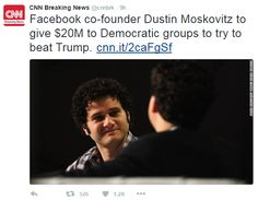 Facebook co-founder Dustin Moskovitz is committing $20 million to help Hillary…
