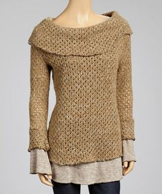 Take a look at this Mocha Layered Cowl Neck Sweater by delfine on #zulily today!