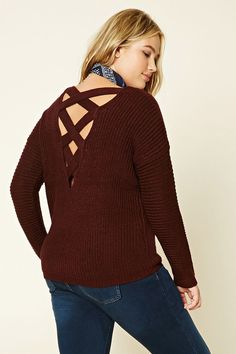 Forever 21+ - A marled knit sweater featuring a back cutout with crisscross straps, round neckline, long dropped sleeves, and a ribbed trim. 2X
