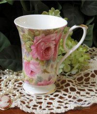 Gorgeous! Heirloom Lady Diana Chintz Bone China Footed Mug