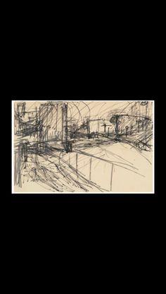 "Frank Auerbach - "" Drawing for Mornington Crescent "" - Pencil and felt-tip pen - 22,5 x 33,5 cm"