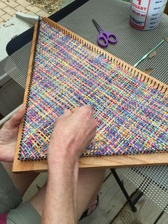 Finishing a 2 ft triangle with a tapestry needle. Orange Beach, Learning Centers, Shawls, Loom, Coastal, Triangle, It Is Finished, Textiles, Tapestry