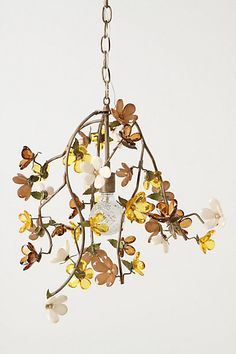 Cherry Blossom Chandelier - It won't be exact but that's not what I want. I think this can be recreated with a pin vise to create the branches out of wire and either use crystal beads for the flowers or the hard paper flowers in my jewelry board. I'd arrange the branches to a shape you like best before putting the flowers on.