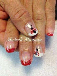 Lady bug Gel Manicure Nails, Shellac Nail Art, Toe Nail Art, Solar Nail Designs, Toe Nail Designs, Gorgeous Nails, Pretty Nails, Ladybug Nail Art, Safari Nails