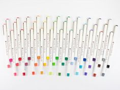 We are so in love with the Rushon Petite! This felt tip pen comes in 36 different colors. Please see our ink swatches below for visual detail on the awesome colors! Art Studio Organization, Cool School Supplies, Pen Shop, Gel Ink Pens, Too Cool For School, Different Colors, Markers, Swatch, Tokyo