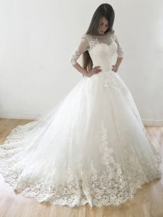 Ball Gown Sleeves Lace Appliques Lace-up Long Wedding Dresses with Sweep Tra.Ball Gown Sleeves Lace Appliques Lace-up Long Wedding Dresses with Sweep Train dentelle design Wedding Dress Tea Length, Lace Wedding Dress, Wedding Dresses For Girls, Tulle Prom Dress, Perfect Wedding Dress, Bridal Dresses, Girls Dresses, Bridesmaid Dresses, Prom Dresses