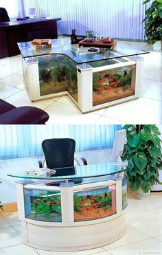 Aquarium Office Desk Clever Design With Golden Fish ❥❥❥ http://bestpickr.com/cool-unique-coffee-tables-unusual-ideas