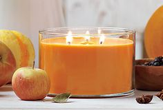 3-Wick Jar Pumpkin Apple Cider #candle - The 3-Wick Jar is a #PartyLite favorite! The three wicks create a generous pool of liquified wax for the greatest fragrance throw. Our Pumpkin Apple Cider fragrance – is a delightful fall treat of fresh apples and rich pumpkin with a dash of cinnamon and nutmeg. Burn time: 35-55 hours.