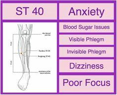 ST 40 Anxiety, Blood sugar issues, Phlegm, Dizziness, Poor Focus