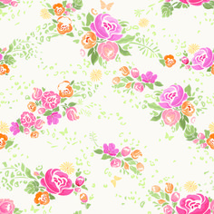 Pink flower vector seamless pattern 03 free