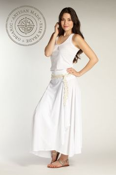 Women's long organic cotton EZ skirt in white. Fair trade ethical fashion from Indigenous.