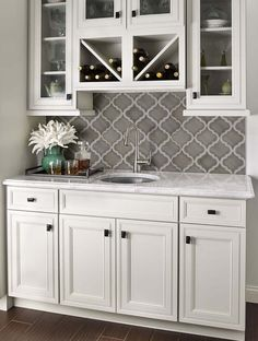 Wet Bar: Grey Arabesque Shape Mosaic Tile Backsplash Against White Cabinets