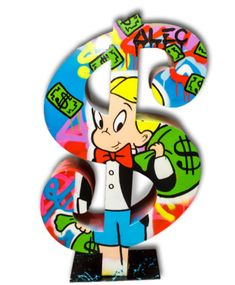 """Part of Monopoly's sculpture series, Richie Rich holds a bag of money on a dollar sign. Alec Monopoly """"DOLLAR RICHIE WITH MONEY BANG,"""" Electrolyzed plated aluminum sculpture, cm >>> Balloon Dog Sculpture, Rabbit Sculpture, Vlone Logo, Hop Tattoo, Mickey Mouse Art, Square Canvas, Arte Pop, Dope Art, Vintage Cartoon"""