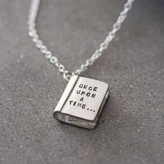 """Engraved """"ONCE UPON A TIME..."""" Story Book Necklace"""