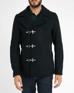 Midnight Blue Hook Fastening Woollen Pea Coat SCOTCH AND SODA. Jeremy Blain  · Manteau homme e1b3a837253a