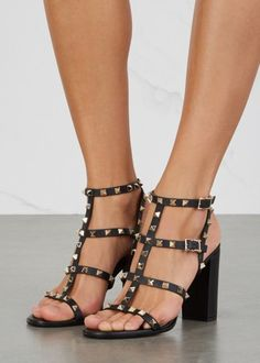 Rockstud 100 black leather sandals - All Shoes - Women
