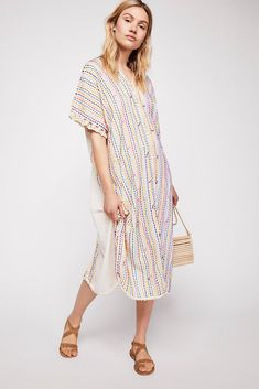 bee78557b Free People There She Goes Embroidered Kaftan - Natural One Size Cotton  Kaftan, There She