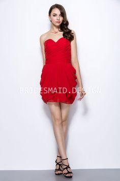 Modern sweet cute, this strapless mini bridesmaid dress offers skillful handmade draped red chiffon to add three dimension feeling.