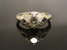 Art Deco Engagement Ring Sapphire and Diamond by MSJewelers, $1885.00