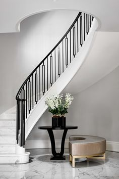 Marble clad stairs with steel spindles Staircase Design Modern, Staircase Railing Design, Staircase Handrail, Marble Staircase, Iron Staircase, Wrought Iron Stairs, Iron Stair Railing, Interior Staircase, Home Stairs Design