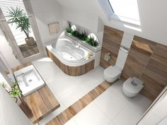 Compact Bathroom, Bathroom Spa, Modern Bathrooms Interior, Bathroom Interior Design, Toilet Room, Toilet Design, Bathroom Design Small, Corner Bathtub, House Design