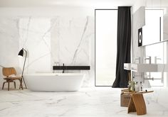 Bathroom Inspiration: Sneak peek Bathroom with porcelain marble-effect floors and walls and plywood stools - Marble Bathroom Dreams