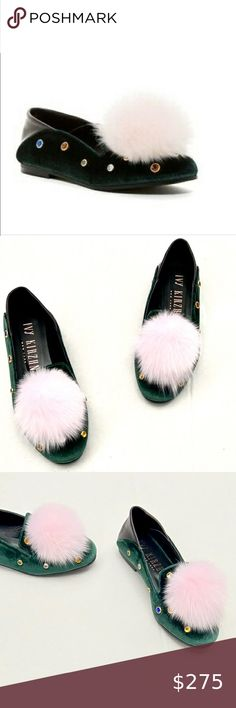 NWOB IVY KIRZHNER GREEN VELVET JEWELED FUR LOAFERS New without box. Never worn. Real fur. Authentic Ivy Kirzhner Shoes Flats & Loafers