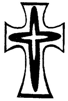 The Sisters of Mercy logo is a distinctive Cross. Three crosses are interlaid with silver, black and silver. This contemporary emblem preserves the symbol of the original Mercy Cross chosen by the foundress, Catherine McAuley. She saw it, as do her Sisters, as their identification with Christ crucified.