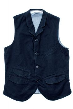 Scarti-Lab Collar Waistcoat 415-SM273 Herringbone Indigo : SUNSETSTAR Edwin Jeans, Herringbone Fabric, Universal Works, Red Wing Shoes, Japanese Denim, Workout Accessories, Vintage Inspired Dresses, All Brands, Blue Jeans