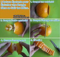 Lorsque vous aurez essayé cette astuce, vous n'aurez plus jamais à éplucher une orange avec les mains. Car rien de plus énervant que de se salir les mains avec une orange. Ça gicle partout et en plus, vos doigts sentent l'orange pendant des heures. Heureusement, voici l'astuce épatante pour peler une orange facilement :