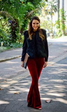 Look Margarida Store para arrasar no Inverno! - Vanessa Galizzi | Moda It  Colete de Pelo + Flare de Veludo Vinho + Clutch Animal Print