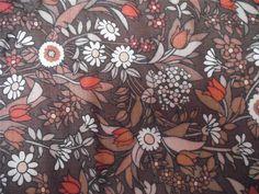 GORGEOUS VINTAGE JONELLE FLOWER WALTZ LINEN FLORAL CURTAIN FABRIC 64 X 72