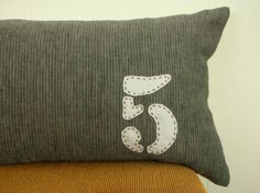 applique number pillow $45 from habitationinc on etsy